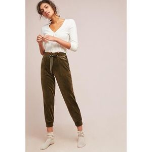 Anthropologie Velour Joggers M Green